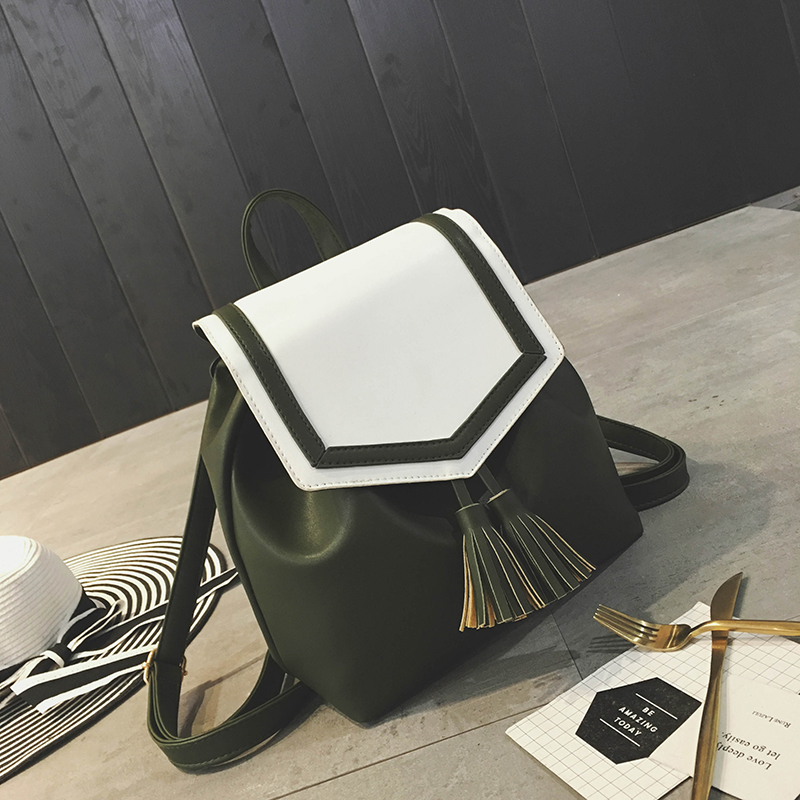 Korean Fashion Women Travel Bags Tassel Vintage Preppy Syle Backpacks For Feminine Pu Leather Teenage School