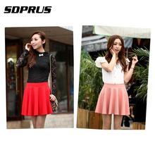 Pleated Short Skirt Girls Elegant Korean-Style High-Waist Cotton Fashion Women Solid