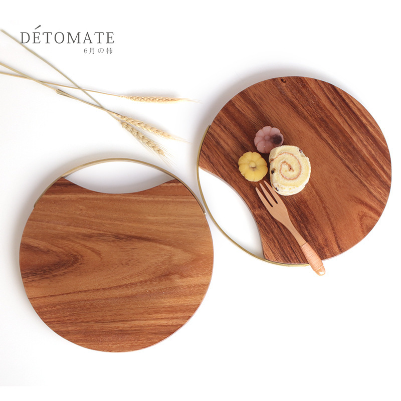 Solid Wood, Lacquered Fruit Cutting Board, Wood Chopping Board, Kitchen Circular Chopping Board