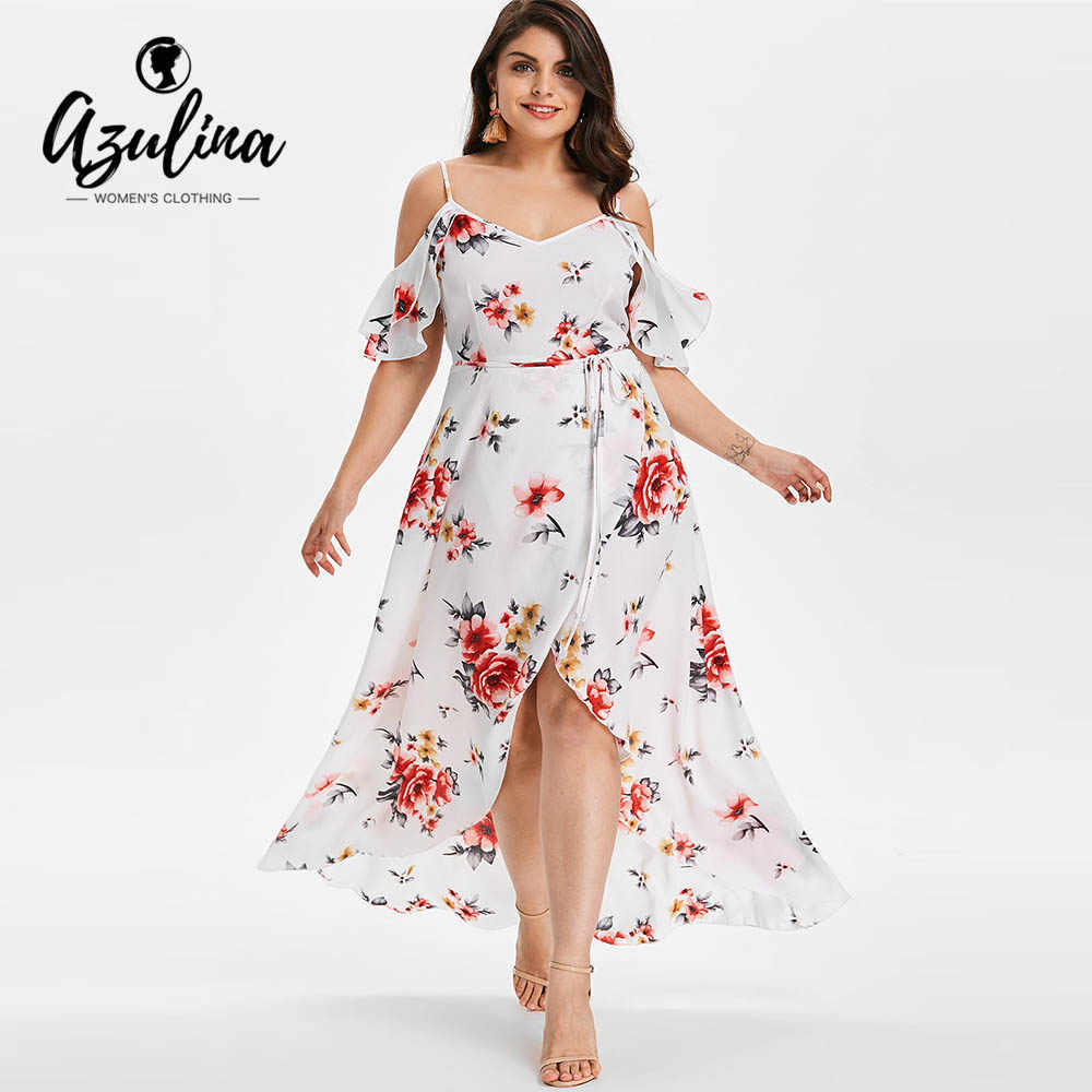 AZULINA Plus Size Cold Shoulder Belt Overlap Dress Women Spaghetti Strap  Half Sleeves Floral Print Dresses 54108a9cd303