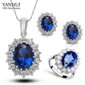 YANHUI Women White Gold Filled Wedding Jewelry Sets Fashion CZ Diamond Sapphire Ring Necklace Earrings Bridal Jewelry Set HS006