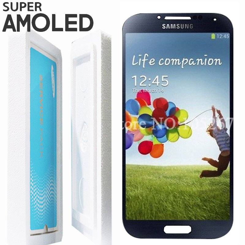 ORIGINAL 5 0 SUPER AMOLED LCD with Frame Replacement for SAMSUNG S4 i9500 i9505 Display Touch