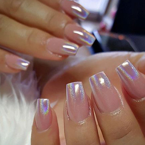 Image 2 - 0.2g Holographic Rainbow Nail Art Powder Nail Tip Chrome Pigment Laser Nail Glitter Dust Manicure Nail Art Decor LASL0620 X02 1