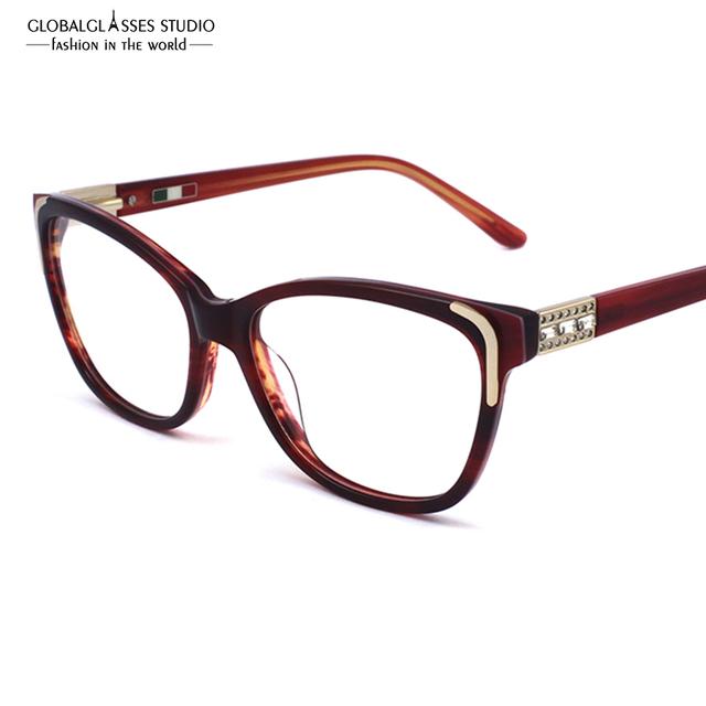 Feitas à mão de Alta Qualidade Armações De óculos de Acetato de Moda Senhora Novo Designer Eyewear Óculos Com Strass Brilhante 601R