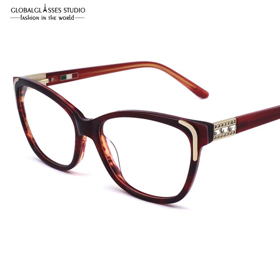 hand made high quality acetate eyeglass frames fashion lady new designer eyewear glasses with shiny rhinestones