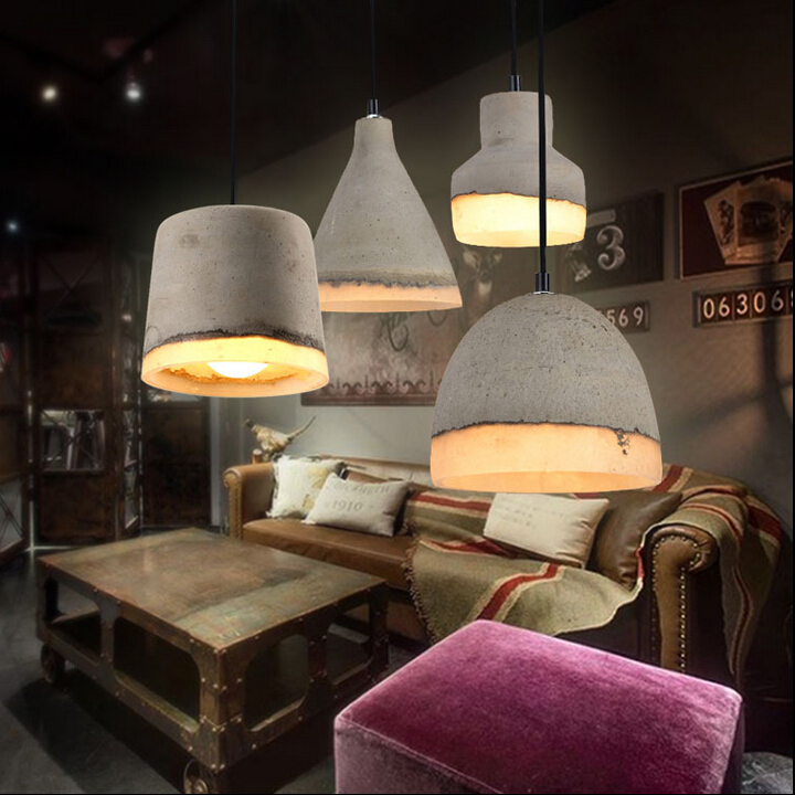 Colorful Loft Vintage Industrial Concrete Droplight Ceiling Lamp Coffee Shop Bar Club Hall Store Dining Room edison inustrial loft vintage amber glass basin pendant lights lamp for cafe bar hall bedroom club dining room droplight decor