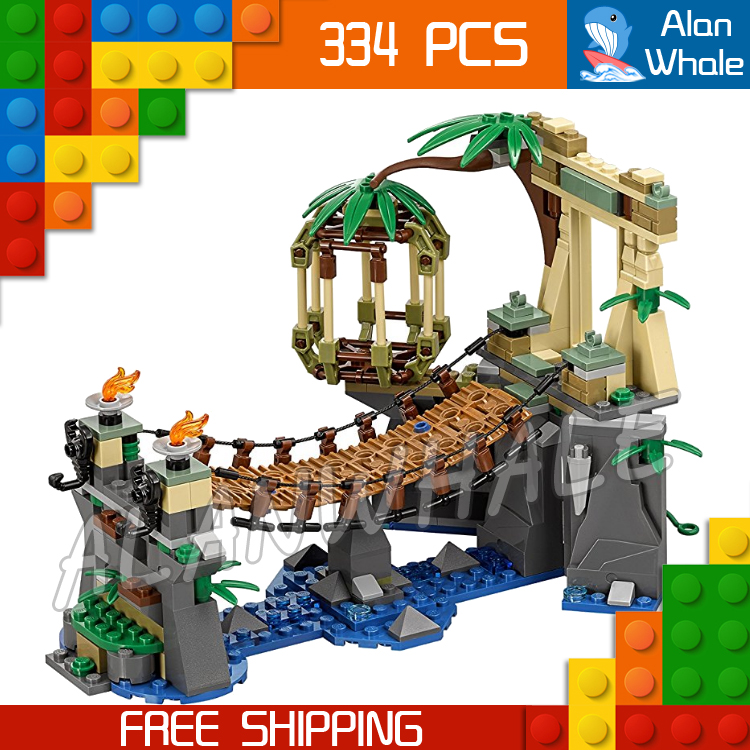 цена на 334pcs New Ninja Master Falls Jungle Tree Bridge 06059 Model Building Blocks Children Assemble Toys Bricks Compatible With lego