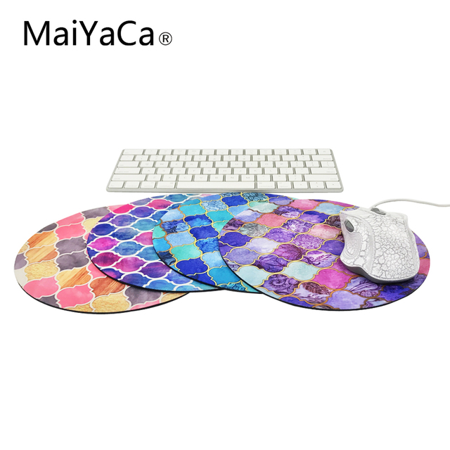 MaiYaCa rainbow pastel watercolor moroccan pattern prints Mouse Pad Small Size Round Gaming Non-Skid Rubber Pad