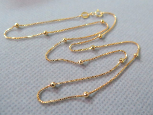 Real Au750 18k Yellow Gold Chain Luck 2.4mmW Box & Beads Link Necklace 16.5 4