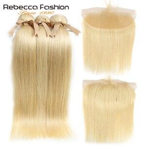 Image 3 - Rebecca 613 sarışın demetleri ile Frontal İnsan saç demetleri sarışın malezya düz saç 3 demetleri ile Frontal kapatma