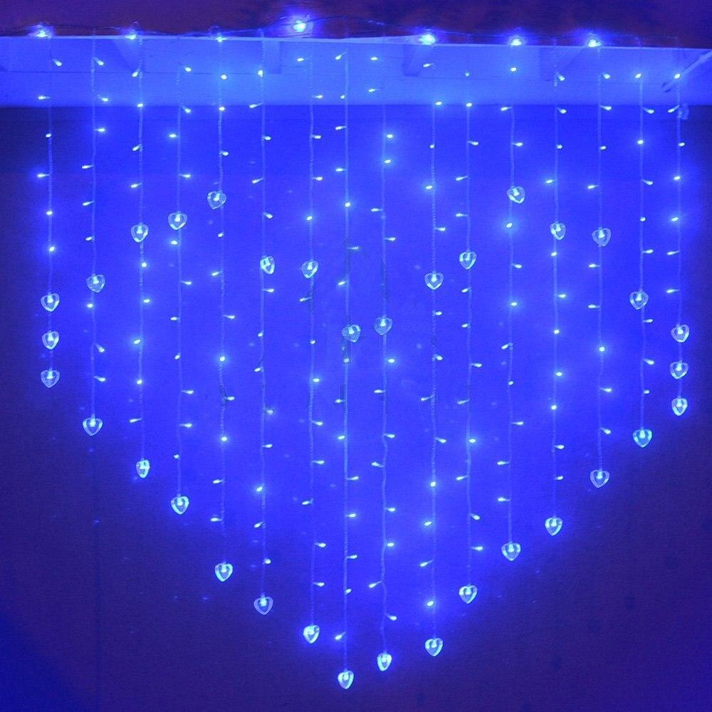 Super Romantic LED Curtain Light Love Heart-Shape Light Strip 2M with 124 LEDs Lamp Blue Three Kinds Plug стулья для салона led by heart 2015