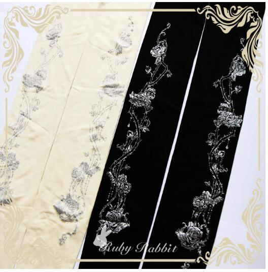 Ruby Rabbit Branded Lolita Tights Gothic Crown and Thorns Printed Girls Pantyhose
