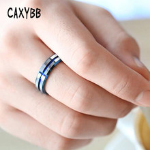 Caxybb Personality Deep Blue Tungsten Steel Printed Cross Men Ring Tide Male Single Tail Ring Gift for Friend Lover Size #7- #11(China)