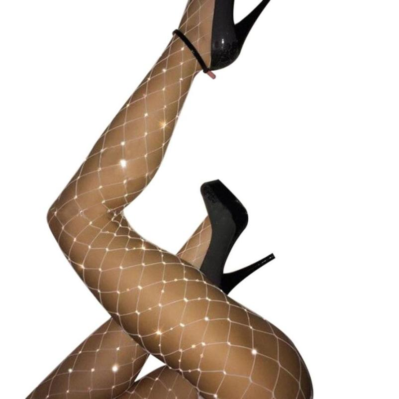 2019 Big Fish Net Tights Sexy Crystal Rhinestone Fishnet Women Tight Elastic Nylon Bling Diamond PantyhosSexy Stockings Female