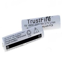 Buy 10pcs/lot TrustFire Protected TR 18650 2000mAh 3.7V Lithium Rechargeable Battery with PCB Power Source For LED Flashlights directly from merchant!