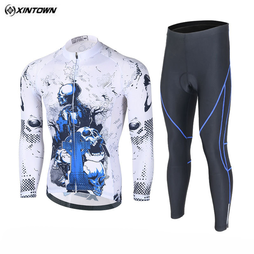 XINTOWN Team White Pro Bicycle Winter Ropa Ciclismo Clothing Set Mens Long Sleeve Cycling Jersey Gel Pad Bib Pants Suits S-XXXL xintown men winter team ropa ciclismo outdoor cycling jersey bike bicycle jersey jacket long bib pants set 3 color option