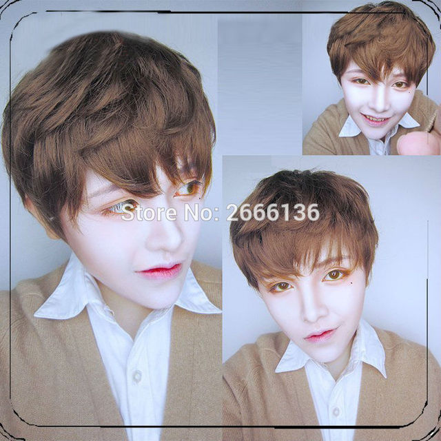 35cm Light Brown Wig cosplay Original exclusive brother handsome guy male models lolita Harajuku male short wig No headwear