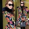 Mujeres Abrigo de invierno 2015 de Moda Señoras Elegantes Impresión Floral X-long Parkas Mujeres de La Cintura Delgada Wadded Chaqueta Abrigo H5589