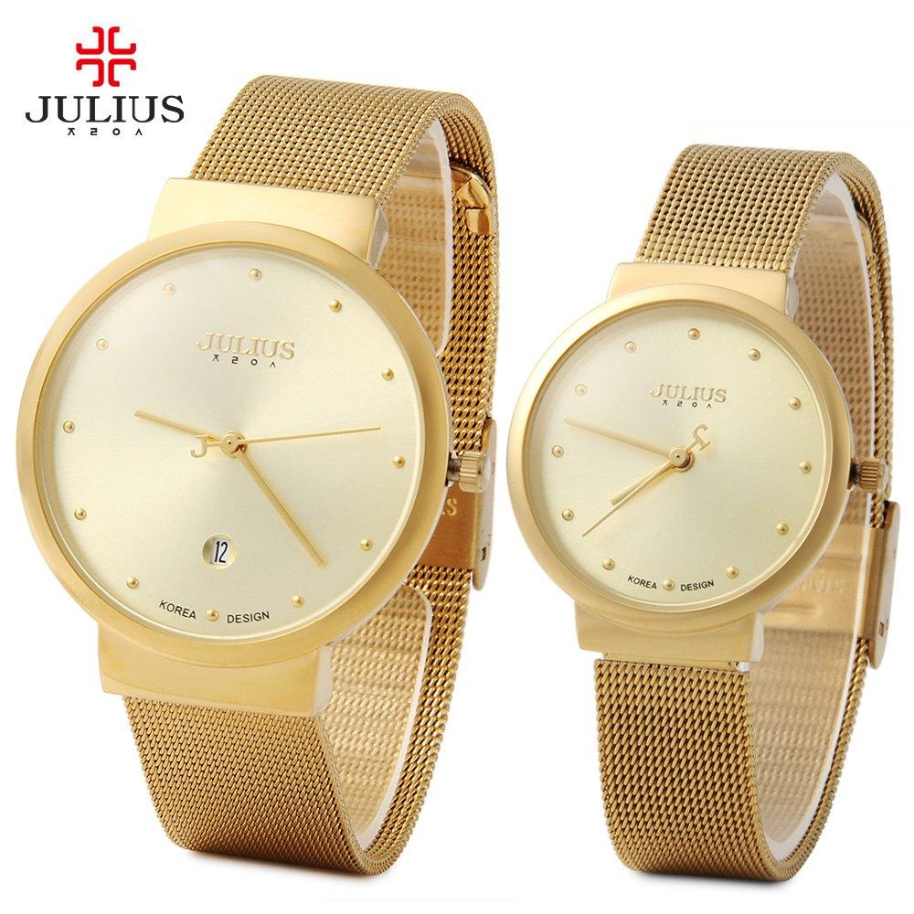 Julius 2016 Luxury Brand Couple Watches Lovers Waterproof Dress Watch Men Women Ultra Thin Full Steel