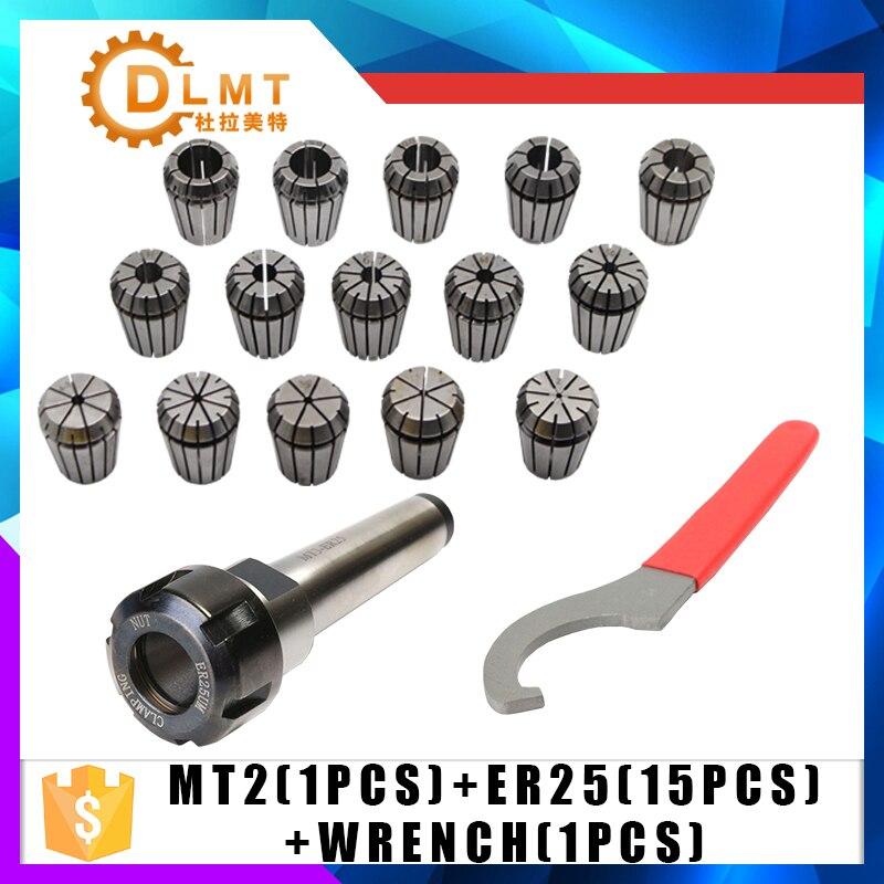 ER25 Pinzas de resorte de 15 piezas MT2 ER25 M12 1 piezas ER25 llave 1 piezas Collet Chuck Morse titular cono para fresadora CNC de herramienta de torno