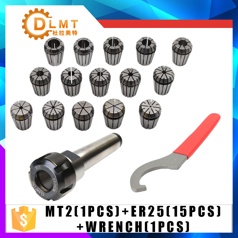 ER25 Spring Clamps 15PCS MT2 ER25 M12 1PCS ER25 Wrench 1PCS Collet Chuck Morse Holder Cone For CNC Milling Lathe tool 1pcs adapter morse cone precision mt2 for morse taper 0 000197 long spindle 2 cnc milling tool