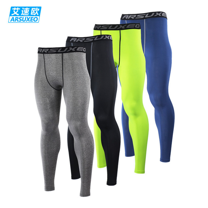 цена Men's Compression Pants Gym Men Fitness Sports Running Leggings Sport Tights Dry Fit Training Compression Running Pants Gym