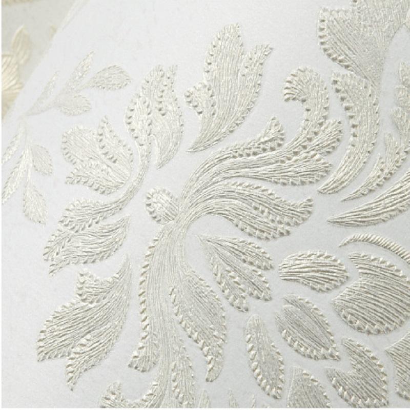 10m 3d Wallpaper Vintage Luxury Damask On White Textured Embossed Flocking Wallpaper Roll Bedroom Wallpapers Papel De Parede