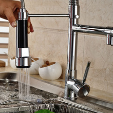Good Quality Wholesale And Retail Chrome Finished Pull Out Spring Kitchen Faucet Swivel Spout Vessel Sink Mixer Tap Hot and Cold