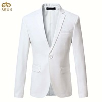 Plus Size Solid Blazer Men Brand Clothing 6XL 5XL Black Blue White Red Men Blazer Slim