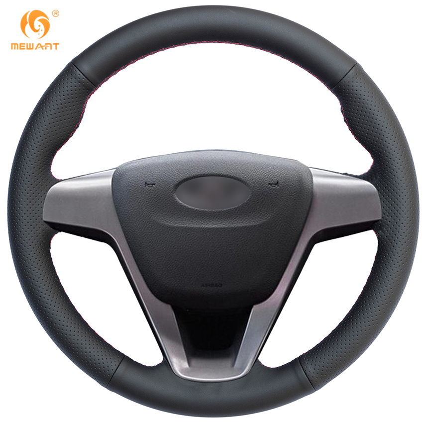 MEWANT Black Genuine Leather Car Steering Wheel Cover for Lada Vesta 2015-2017 runba ice silk steering wheel cover sets with red thread