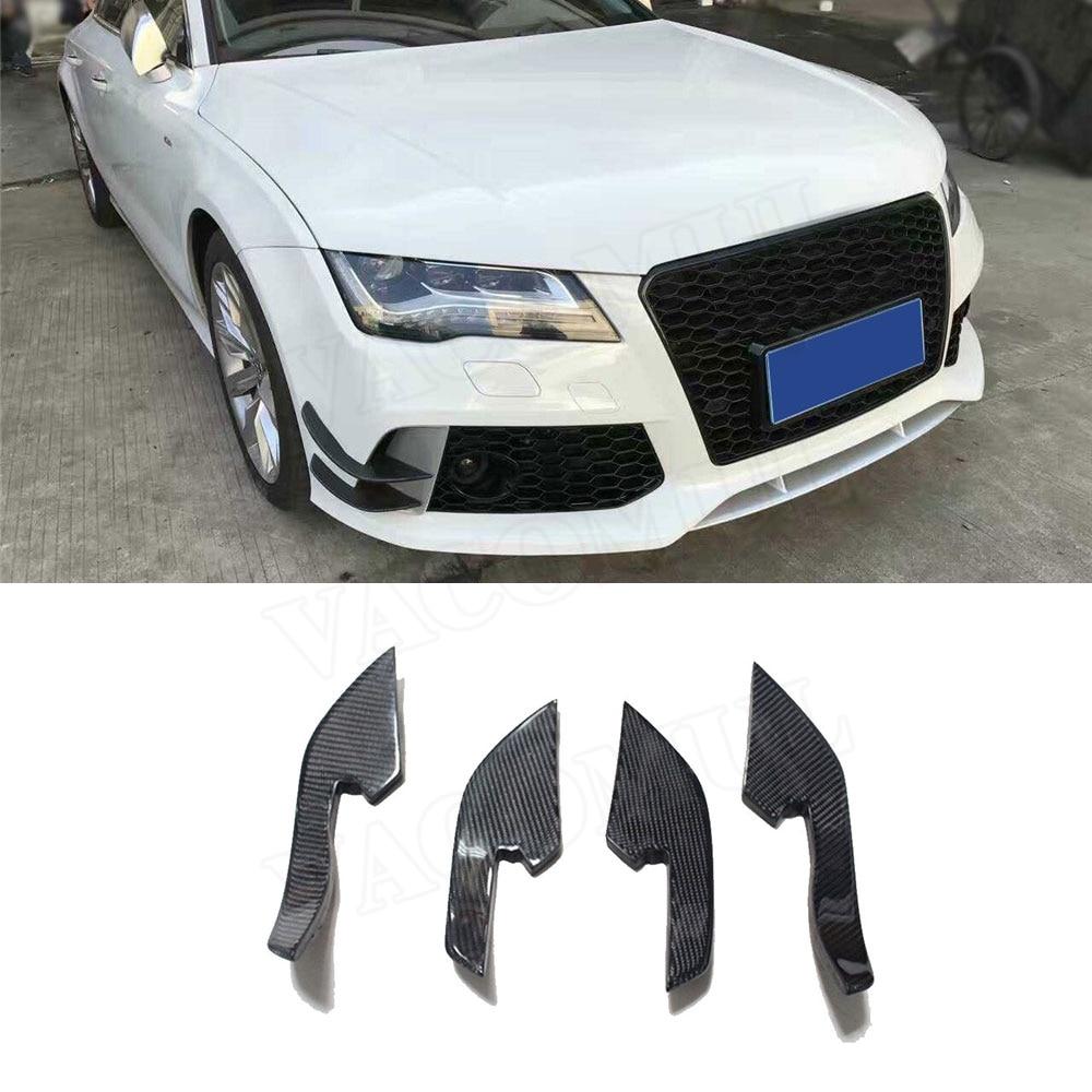 Autocollants de garniture de diviseurs latéraux de pare-chocs avant de Fiber de carbone pour Audi A6 RS6 2013-2016 RS7 2012-2015 décoration de Style de requin d'ailerons