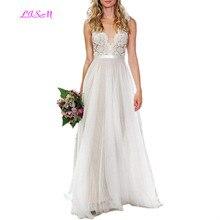 Illusion Lace Appliques Tulle Long Beach Wedding Dress for Bride Scoop Sleeveless Bridal Gowns Sexy Sheer Back vestidos de novia