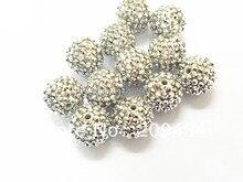 Бусины из серебристой смолы Стразы 20 мм, 100 шт., крупные бусины для изготовления детских ювелирных изделий