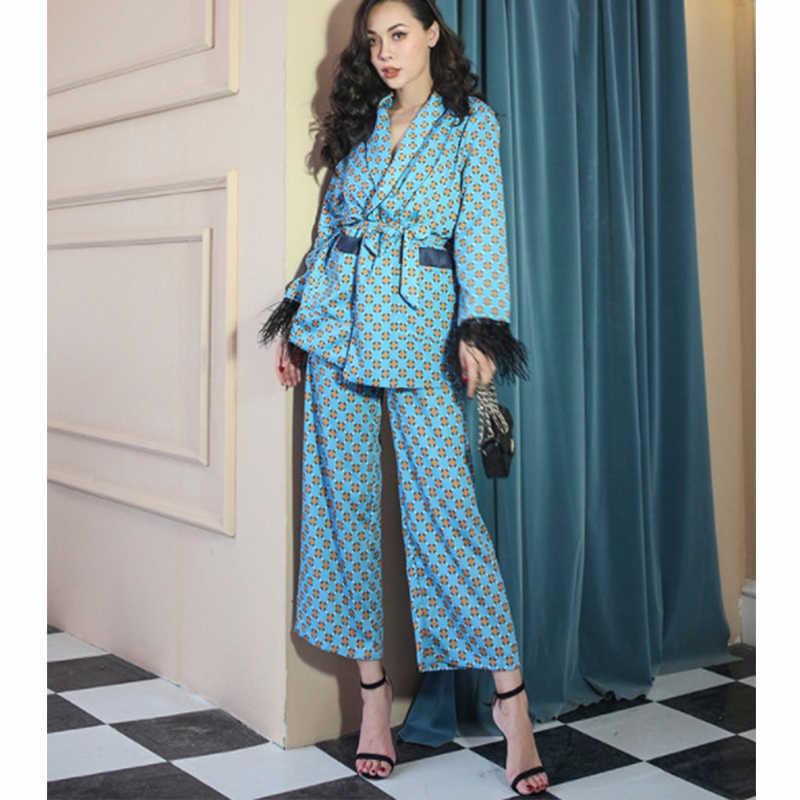 女性のスーツ 2019 秋の新ファッション女性のカジュアルプリントタッセル装飾ロングスーツジャケットルースワイド脚パンツツーピース