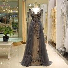 Mulher vestidos de baile 2020 mangas compridas andar ao seu lado mais tamanho bestidos de gala cinza beading cristal profundo com decote em v frete grátis