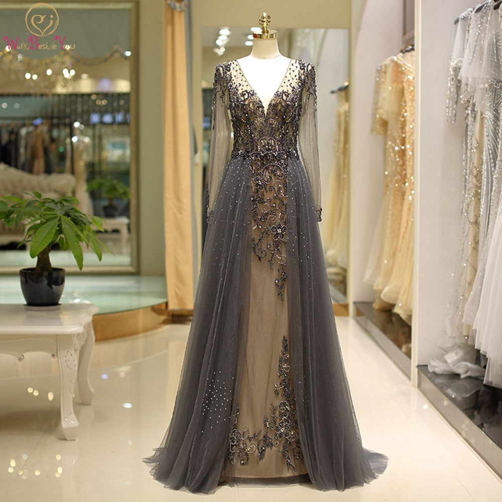 Women   Prom     Dresses   2018 Long Sleeves Walk Beside You Plus size Bestidos De Gala Gray Beading Crystal Deep V-neck Free Shipping