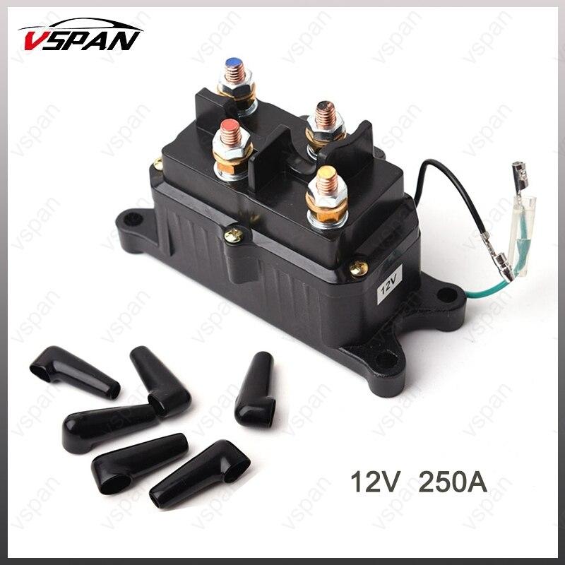 Vspan 12V 250A Solenoid Relay Contactor Winch Relay Rocker Switch Thumb Kit For ATV UTV 4WD Boat Winch Control ATV Winch Relay