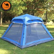 DESERT CAMEL Outdoor Recreation Family Camping 4 Person Gazebo Tent UV Polyester Travel Automatic Tent Awning For The Beach цена