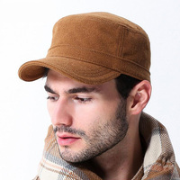 Outdoor Men Military Hat 2016 New Fashion Casual Adults Autumn Winter Military Hats Flat Top Imitation Leather Warm Military Cap