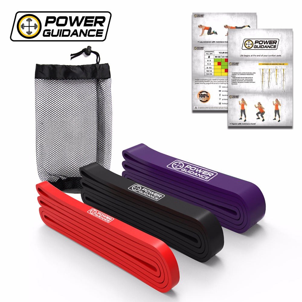 POWER GUIDANCE Fitness Rubber Pull Up Resistance Bands Power latex Band Loop Strap Expander Hanging workout Free Bag aerobic power workout