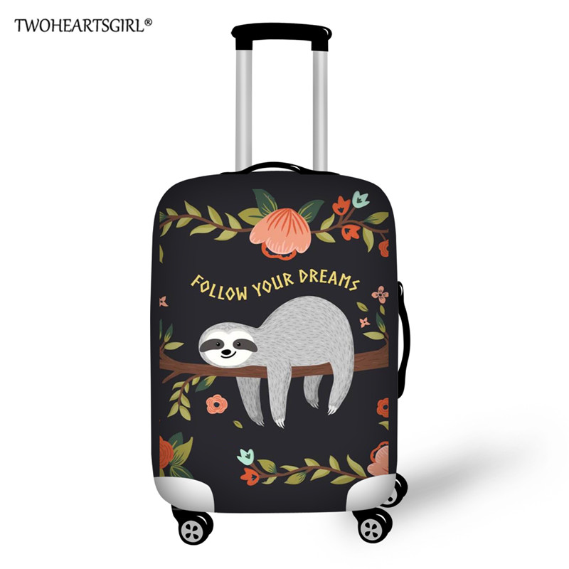 Cute Sloth Print Luggage Protective Dust Cover Thick Elastic Travel Suitcase Cover For 18-30 Inch Trolley Case Trunk Case Cover