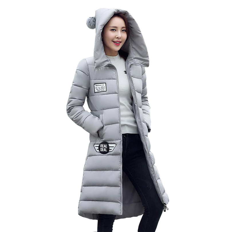Winter Fashion Long Coat Slim Thicken Turtleneck Warm Down Cotton Padded Zipper Plus Size Outwear Casacos Parkas For Female S245