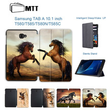 MTT PU Leather For Samsung Galaxy Tab A A6 10.1 inch Tablet Case SM-T580 T585 Flip Fold Stand Smart Cover Horse Protective funda(China)