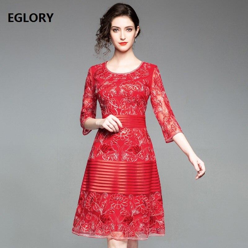 New Arrival Dress 2018 Autumn Winter Designer Clothing Plus Size XXXL Women  Allover Mesh Embroidery A-Line Party Dress Vestidos 4df64cc802c01