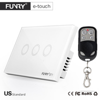 2017 Funryn New US Standard 3 Gang RF433 Wireless Touch Remote Control Wall Light Switch Smart