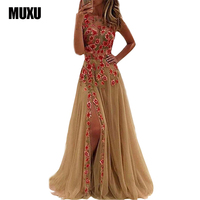 MUXU Embroidery Floral Mesh Dress Backless Sexy Party Womens Clothing Club Beautiful Cheap Dresses Elegant Embroidered