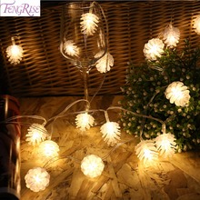 FENGRISE Christmas Pine Cone LED String Lights Merry Ornaments Tree Decoration for Home Happy New Year 2020