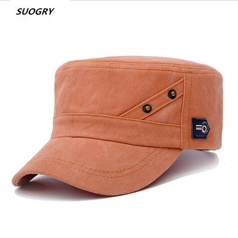 Vintage Pu Flat Top Army Baseball Cap Unisex Fisherman Sailor Hat Military Hats