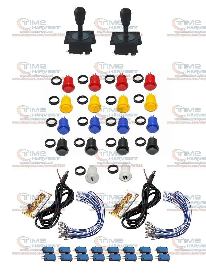 Arcade parts kits Bundle including arcade joystick button for DIY contoller for arcade game MAME Raspberry PI 1set Free shipping sanwa button and joystick use in video game console with multi games 520 in 1