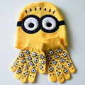 One Set Baby Kids Winter Despicable Me Minions Gloves +Hat Set Fashion Brand New Warm Knitted Cartoon Caps Gloves